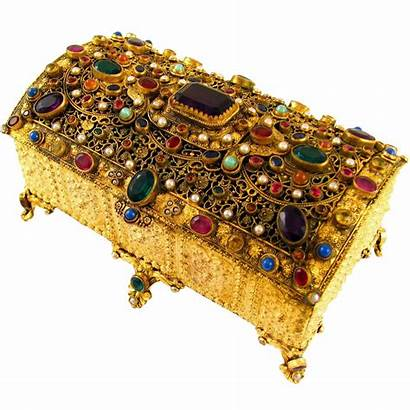 Jeweled Encrusted Gilt Jewelry Ruby Antique Austrian