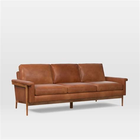 wood frame leather sofa leon wood frame leather sofa 82 quot west elm