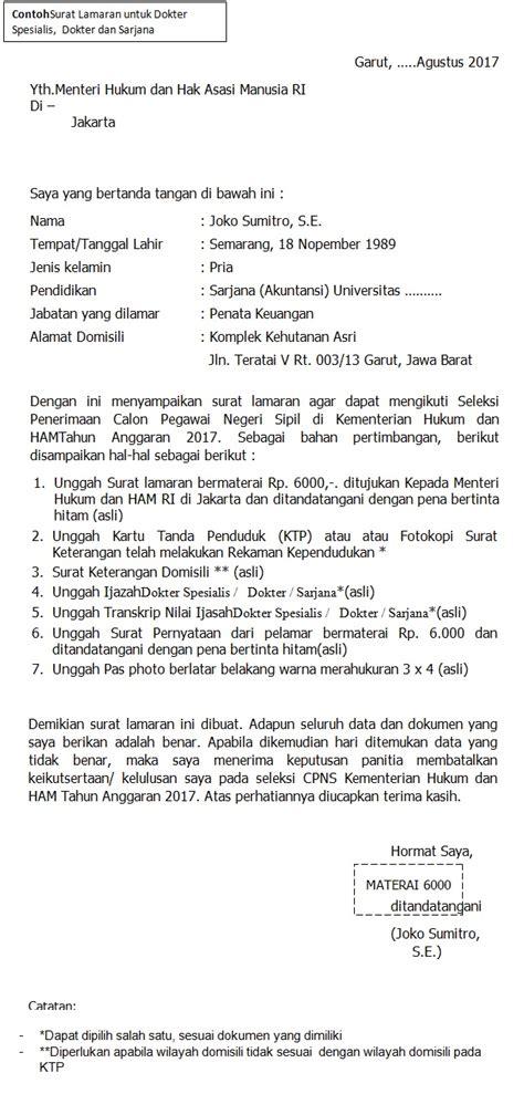 Contoh Surat Lamaran Calon Pns Kejaksaan Agung by Format Terbaru Contoh Surat Lamaran Cpns Kementerian Hukum