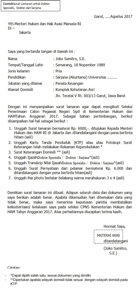Contoh Surat Lamaran Cpns Kejaksaan 2017 by Format Terbaru Contoh Surat Lamaran Cpns Kementerian Hukum