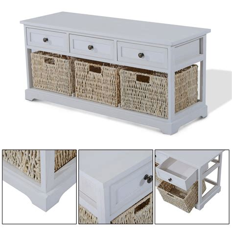 white storage bench with wicker baskets wooden coffee table with seagrass wicker storage baskets