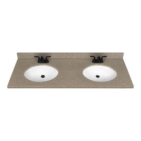 double sink bathroom vanity top shop nutmeg solid surface integral double sink bathroom