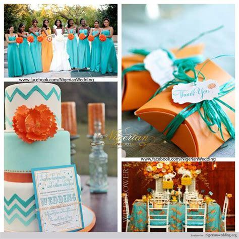 august wedding ideas orange and turquoise nigerian