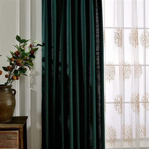 the emerald curtain emerald green solid linen pinch pleated hotel curtains