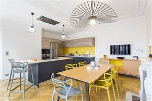 cuisine moderne dans un appartement haussmannien coralie With salon salle a manger contemporain pour petite cuisine Équipée