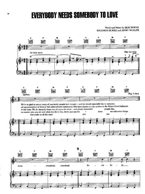 All i know it is a country song. MUSIC SHEET the Blues Brothers - Everybody Needs Somebody to Love (for Piano and Guitar, With ...