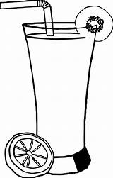 Coloring Drink Cocktail Fruit Straw Lemon Piece Sheets Printable Leaf sketch template