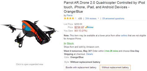 deal alert parrot ardrone  hits   price  amazon     elite