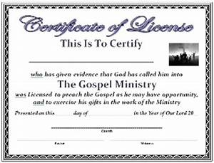 Ordained minister certificate license template search for Free minister license