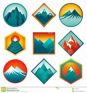 Vector Set With Abstract Logos - Mountains Royalty Free ...