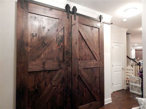 Large Sliding Barn Doors From Brown Old Wood With Diagonal