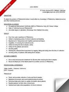 resume exles for phlebotomy phlebotomist resume objective phlebotomy technician schools