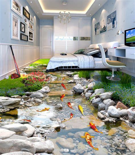 fish stone stream floor decals wallpaper murals wall