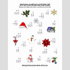 Christmas Missing Digits (a) Christmas Math Worksheet