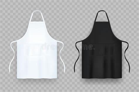 Realistic White And Black Kitchen Apron. Vector