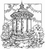 Gazebo Coloring Garden Pages Gate Books Sketch Adult Template Printable Colouring sketch template