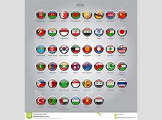 Set Of Round Glossy Flags Of Sovereign Countries Of Asia