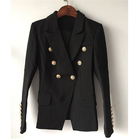 Womenu0026#39;s Gold Buttons Double Breasted Blazer - Lalbug.com