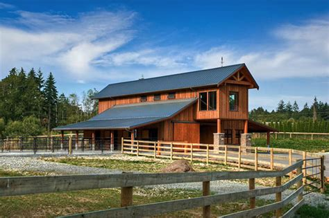 barn pole roof stable overhang rustic living quarters horse shed exterior stilt langley corral farmhouse gable lines contemporary site south