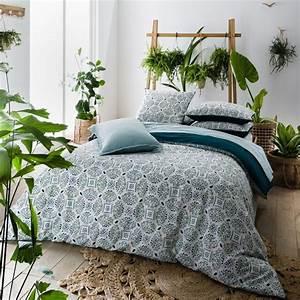 Housse de couette imprimee keyiah imprime bleu vert la for Décoration chambre adulte avec la redoute linge de lit housse de couette