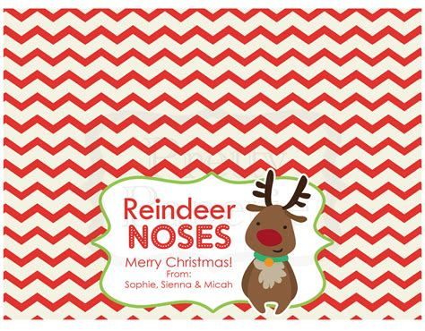 instant  christmas treat bag tags reindeer noses