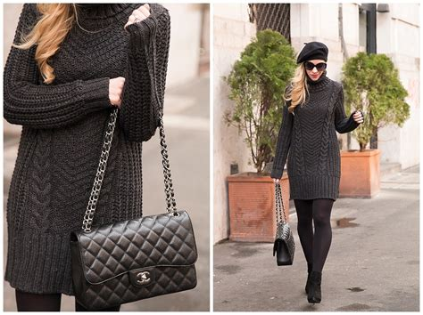 Sweater Dress, Cashmere Beret & Suede Booties }