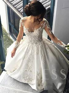 gown beaded appliques sleeve wedding dress
