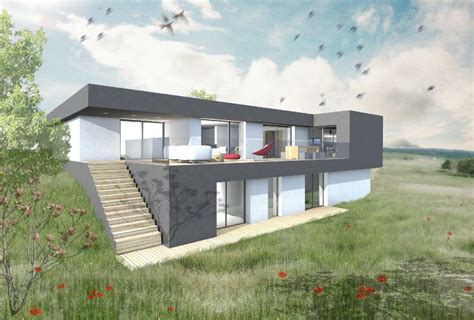 plan maison contemporaine sur terrain en pente ventana