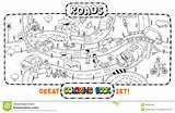 Coloring Road Roads Cars Map Crossings Pages Template Vector sketch template