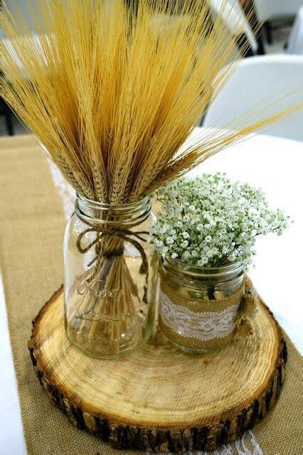 Doris wedding centerpiece  mason jars burlap wheat baby's