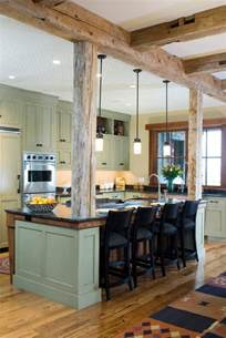 kitchen island leg exposed fasteners at post to beam kitchen rustic with wood ceiling manufactured wood kitchen islands