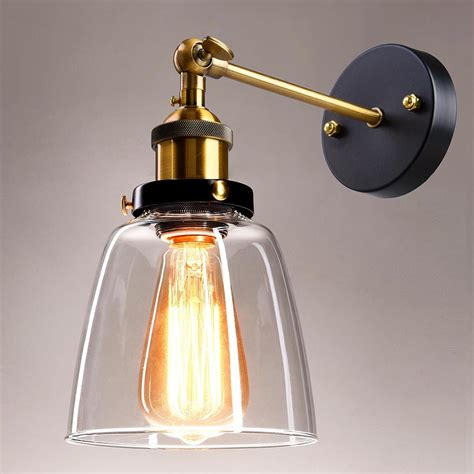vintage industrial country style 5 5 quot wall sconce light wall l w glass shade ebay