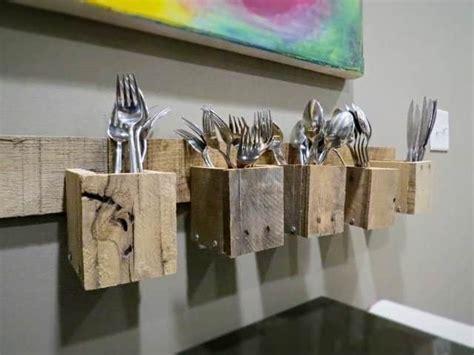 pallet wood wall mount silverware holder  pallets