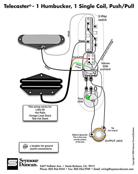 tele wiring diagram 1 humbucker 1 single coil with push pull telecaster build guitar