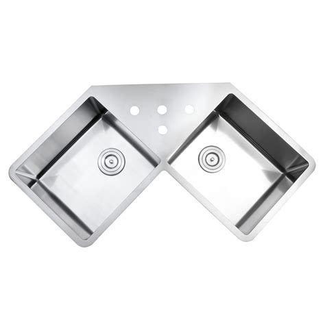 undermount corner kitchen sinks stainless steel 43 inch stainless steel undermount butterly corner 9538