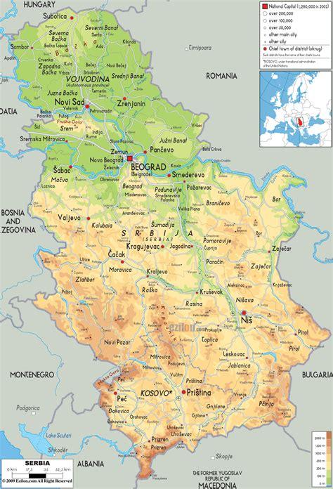 physical map  serbia ezilon maps