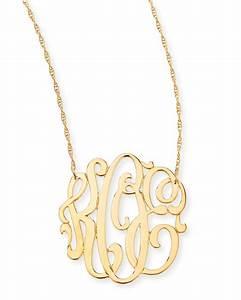 lyst jennifer zeuner 18k gold vermeil medium 3 letter With 3 letter necklace