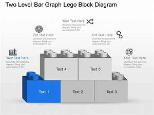 Nu Two Level Bar Graph Lego Block Diagram Powerpoint Template Slide