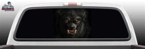 werewolf wolf glass rear window decal graphic truck perf