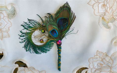 Creative Gold Peacock Large Wall Clock Metal Living Room: Brooch Bridal Bouquet Peacock Feather Teal Olive Purple