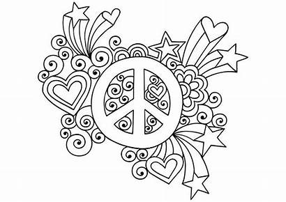 Coloring Peace Printable Simple Hippie Groovy Psychedelic