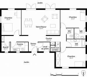plan maison 3 chambres et 2 salles de bain ooreka With plan maison entree sud 2 plan maison 130 m178 avec 4 chambres ooreka