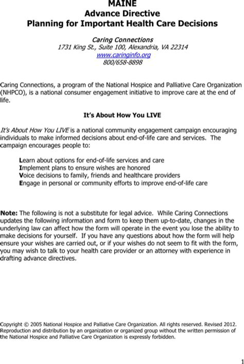 maine health care advance directive form maine advance directive form for free formtemplate