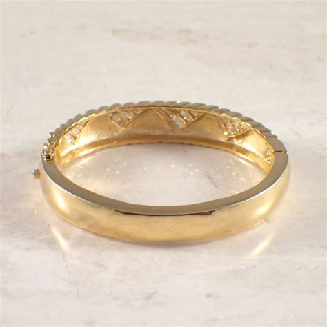 14k Yellow Gold Diamond Bangle Bracelet  Attos Antique. Carnelian Necklace. Pearl Long Earrings. Opal Brooch. Silver Elephant Anklet. Crescent Pendant. Anniversary Diamond. Tiny Necklace. Corded Bracelet