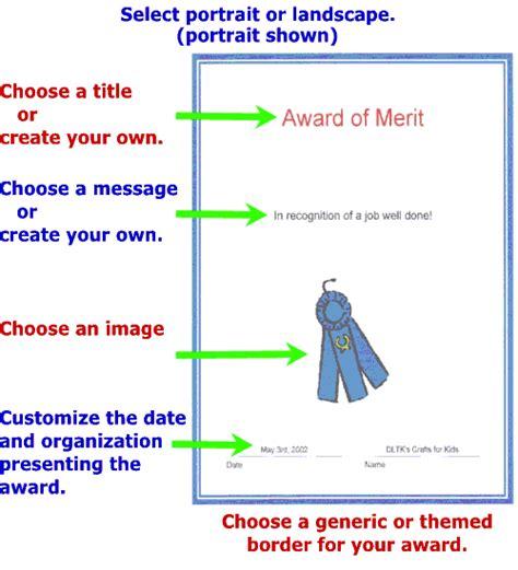 dltks custom printable awards