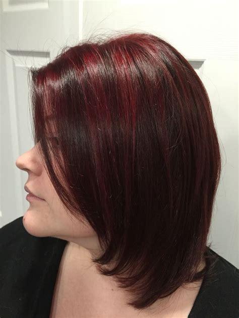 long layered bob  cherry red highlights  natural
