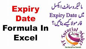 Expiry Date Formula In Excel By Excel Funda