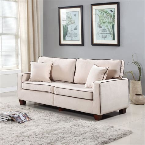 modern  tone beige velvet fabric living room love seat