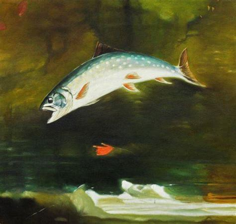 homer jumping trout oil painting reproduction