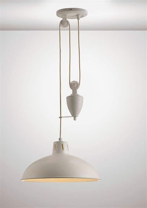 Rise & Fall Ceiling Light with Counterweight   gloss cream
